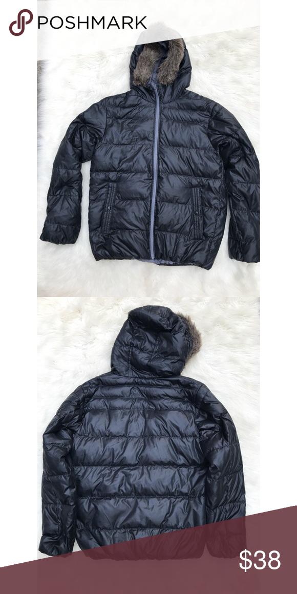 Men's Uniqlo Light Puffer Coat with Fur Hood Excellent