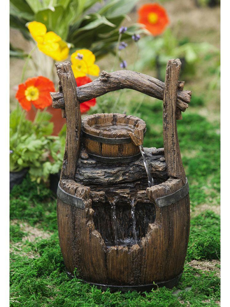 Broken Barrel Water Fountain Landscaping Garden Water