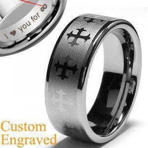 Mens Cross Engraved Tungsten Rings Flat Wedding Bands
