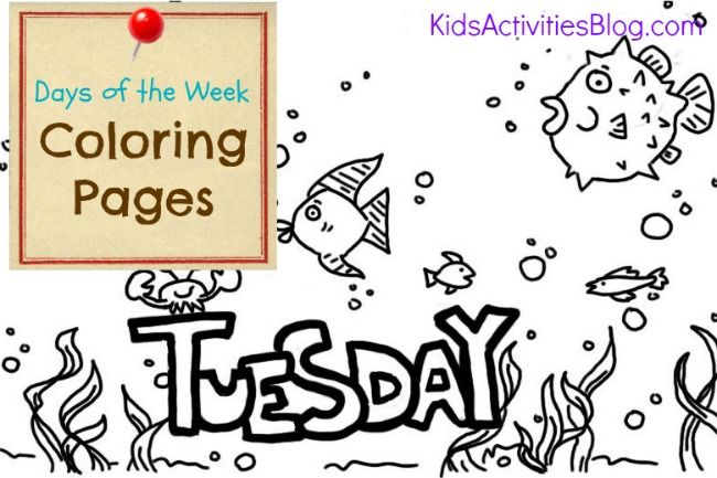 Tuesday Coloring Page Coloring Pages Printable Coloring Pages Color Activities