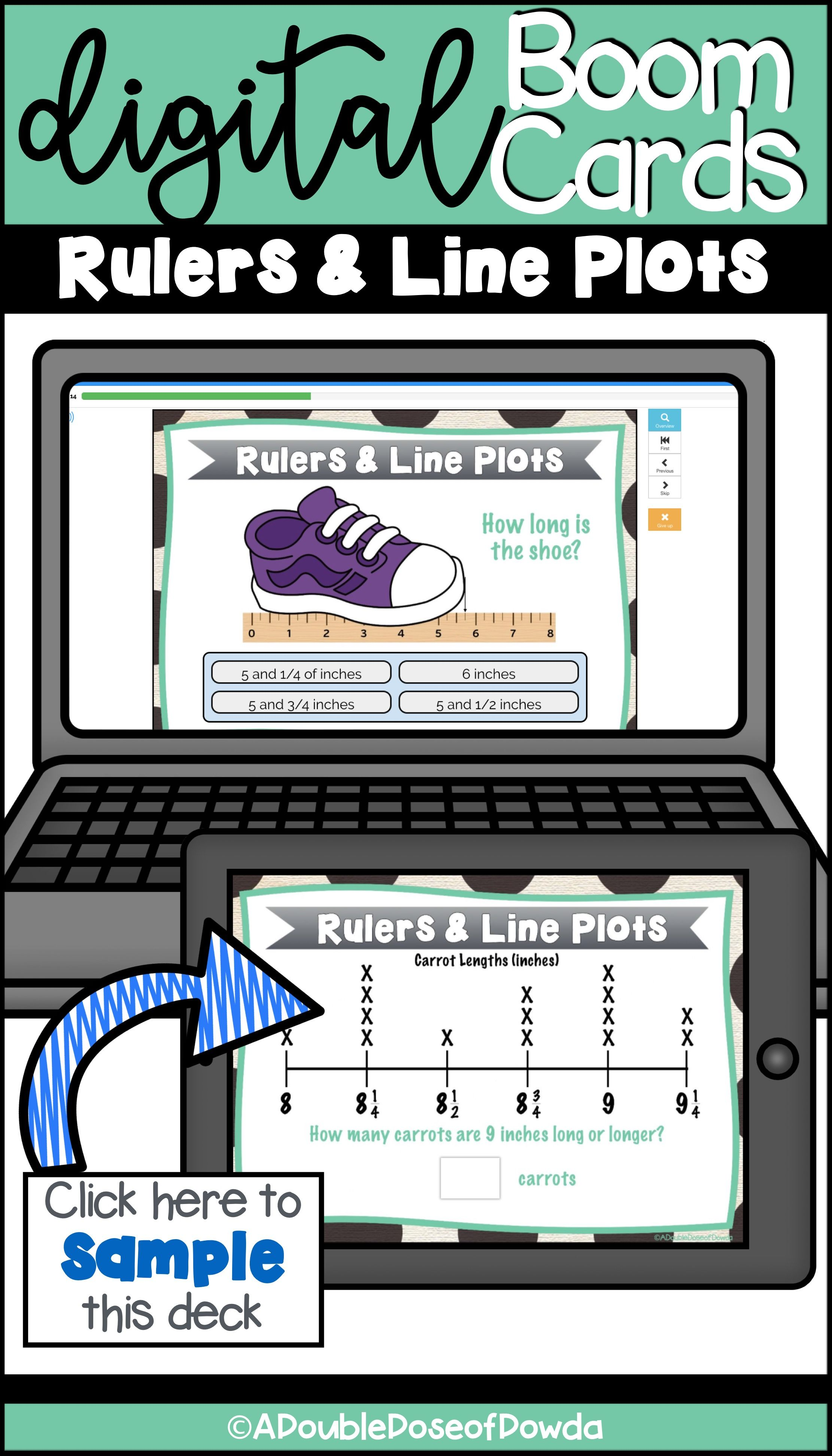 Self Grading Rulers And Line Plots Task Cards For Boom