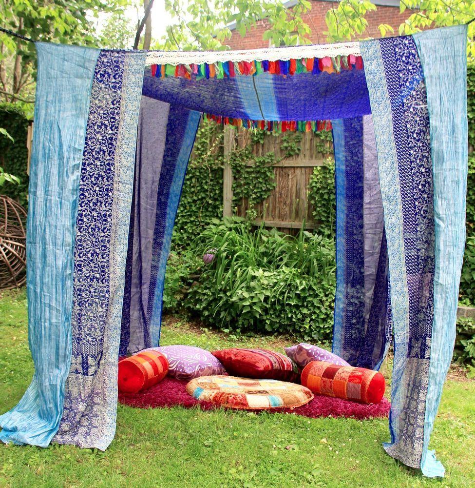 Wedding Chuppah, Boho Tent, pavilion, Sari BED CANOPY ...