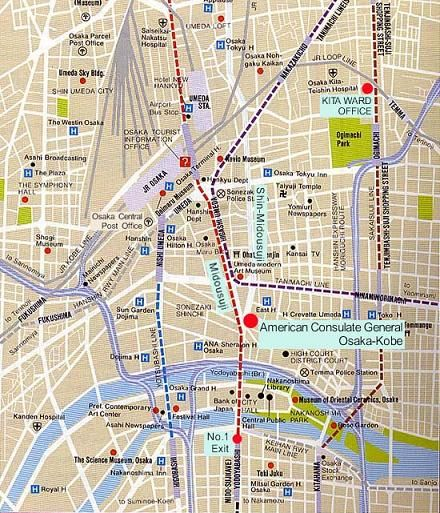 Map And Directions For Osaka US Embassy Consulate Japan - Us embassy tokyo map