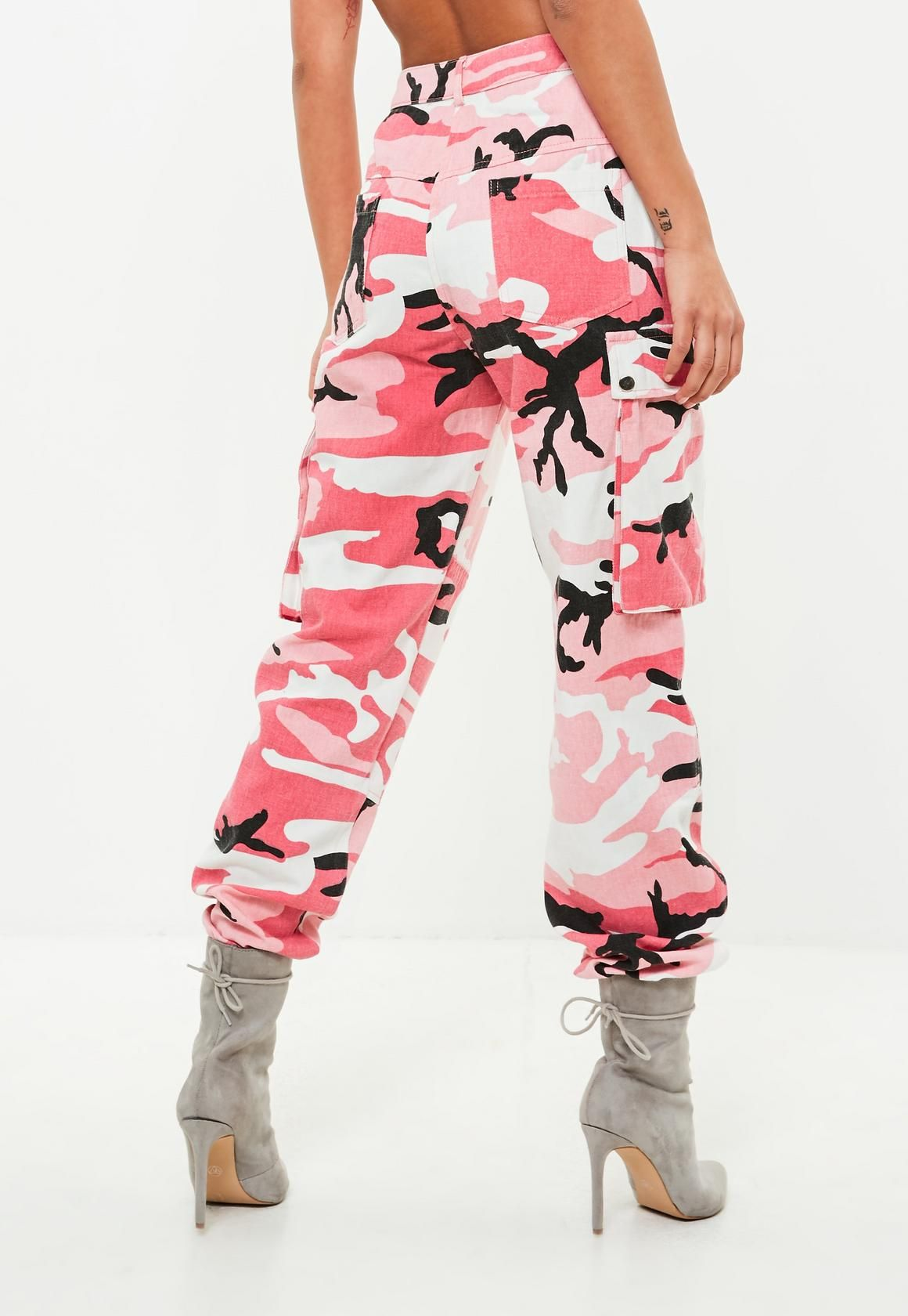3b4d79802fd9ad Missguided - Premium Pink Camo Printed Cargo Trousers | Birthday in ...
