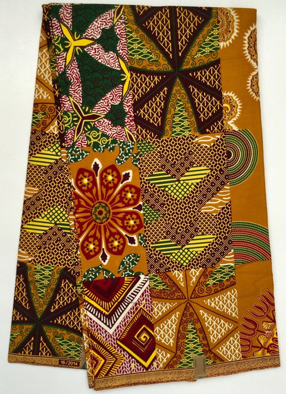 African Print Fabric Dutch Wax  Ankara Brown   Multicolored  f19cbe5405