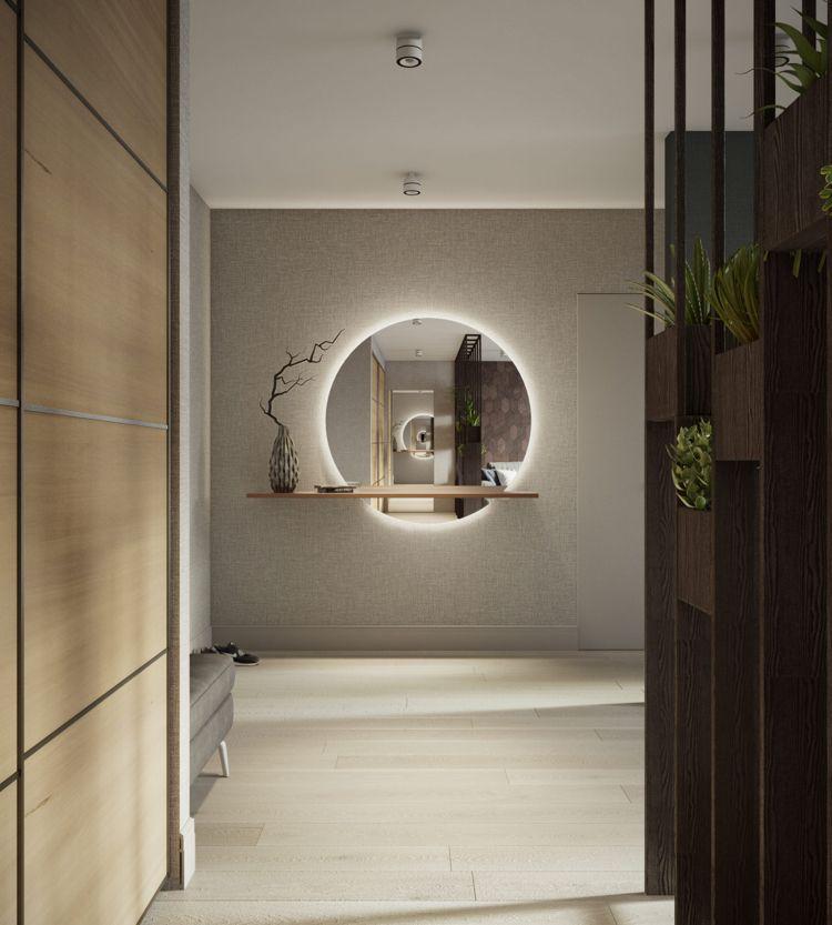 Weiss Grau Beige Flur Runder Spiegel Indirekte Beleuchtung