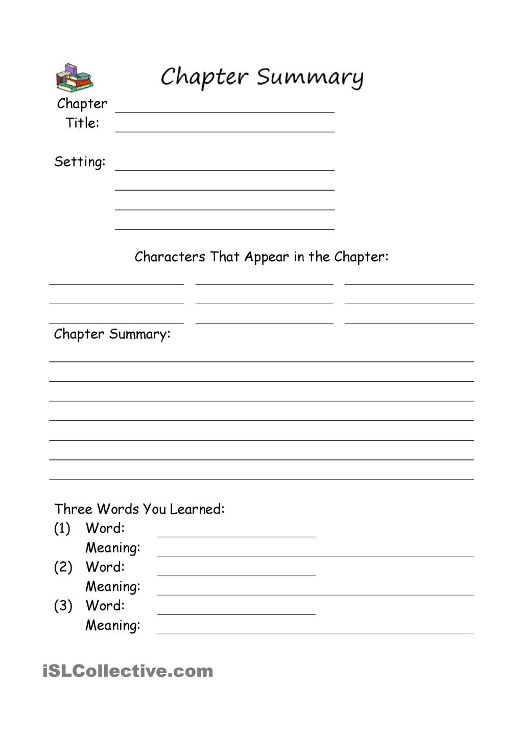 worksheet Chapter Summary Worksheet chapter summary reading projects pinterest school worksheets worksheet free esl printable made by teachers