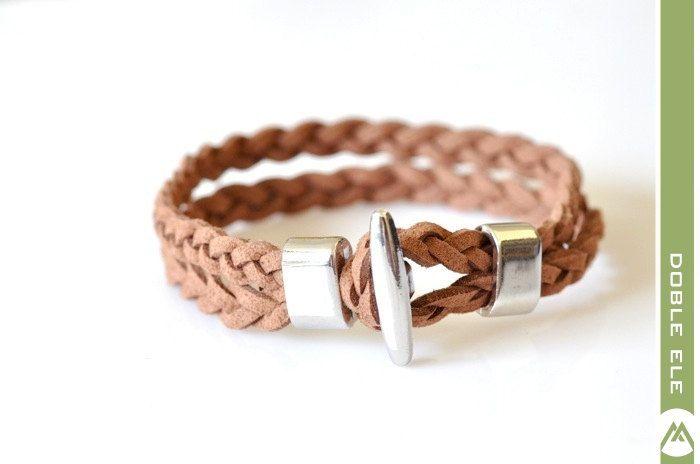 Suede Leather Braided Bracelet - Brown. $18.00, via Etsy.