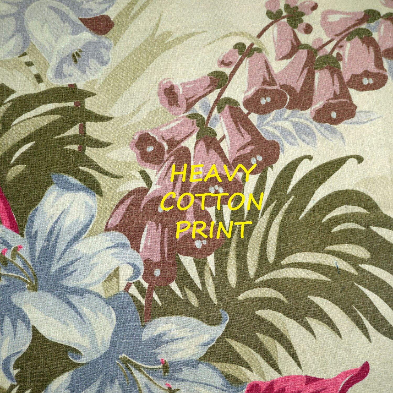 Reclaimed Green Pink Oversize Floral Print Narrow Linen Weave