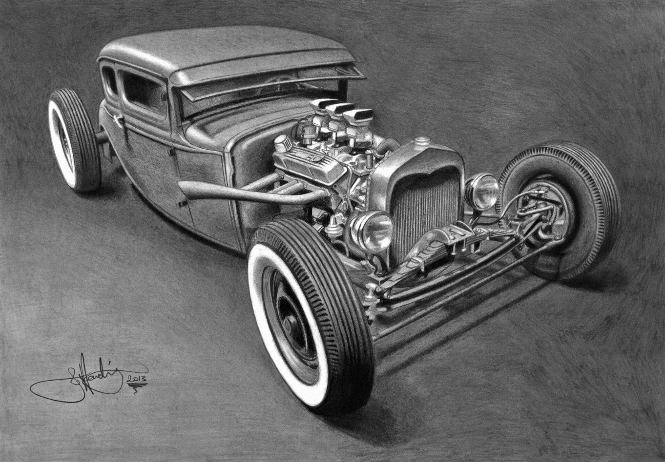 Pencil drawing model rat rod on a3 paper