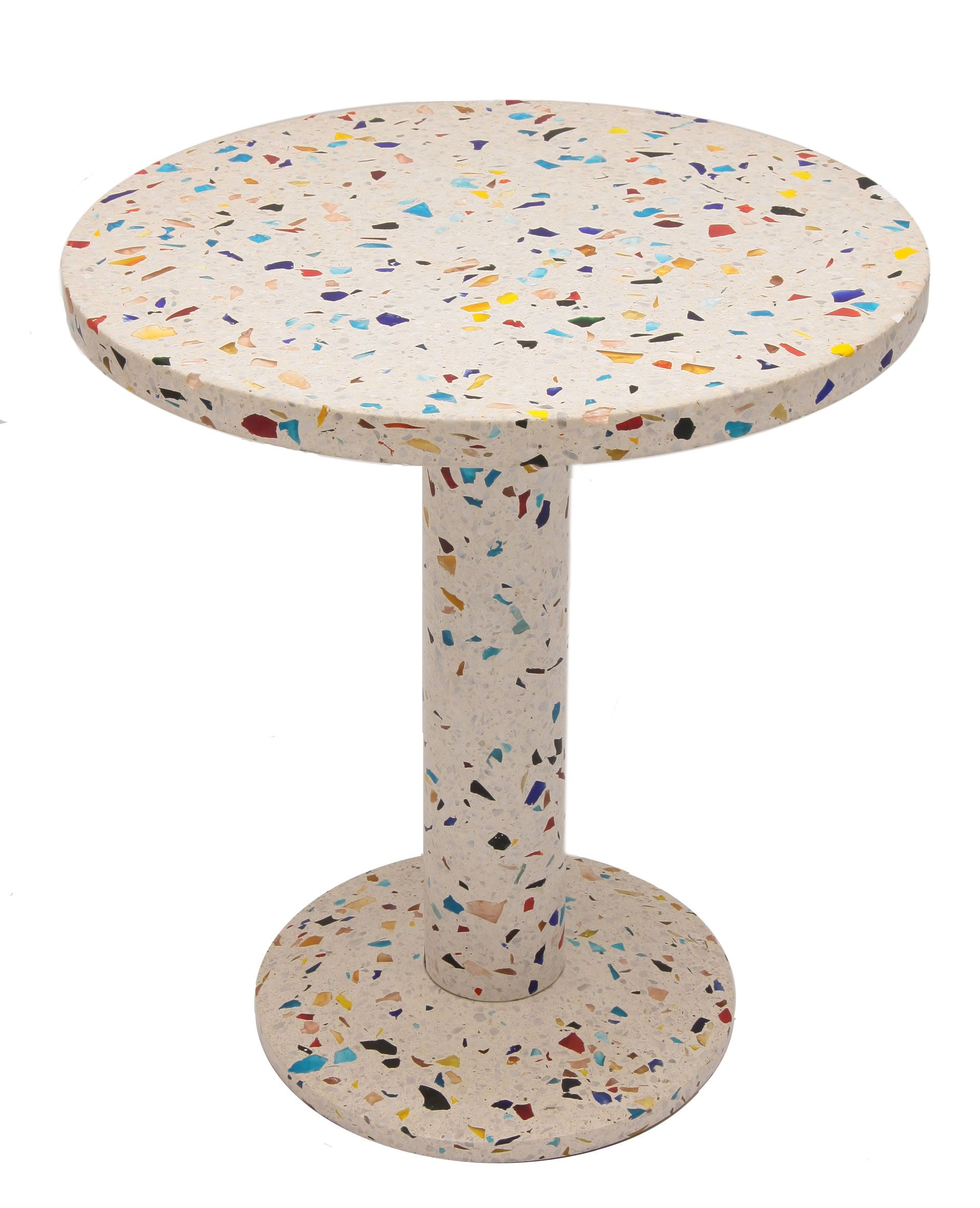 Table Kyoto End table in metal and terrazzo Design 1983 by