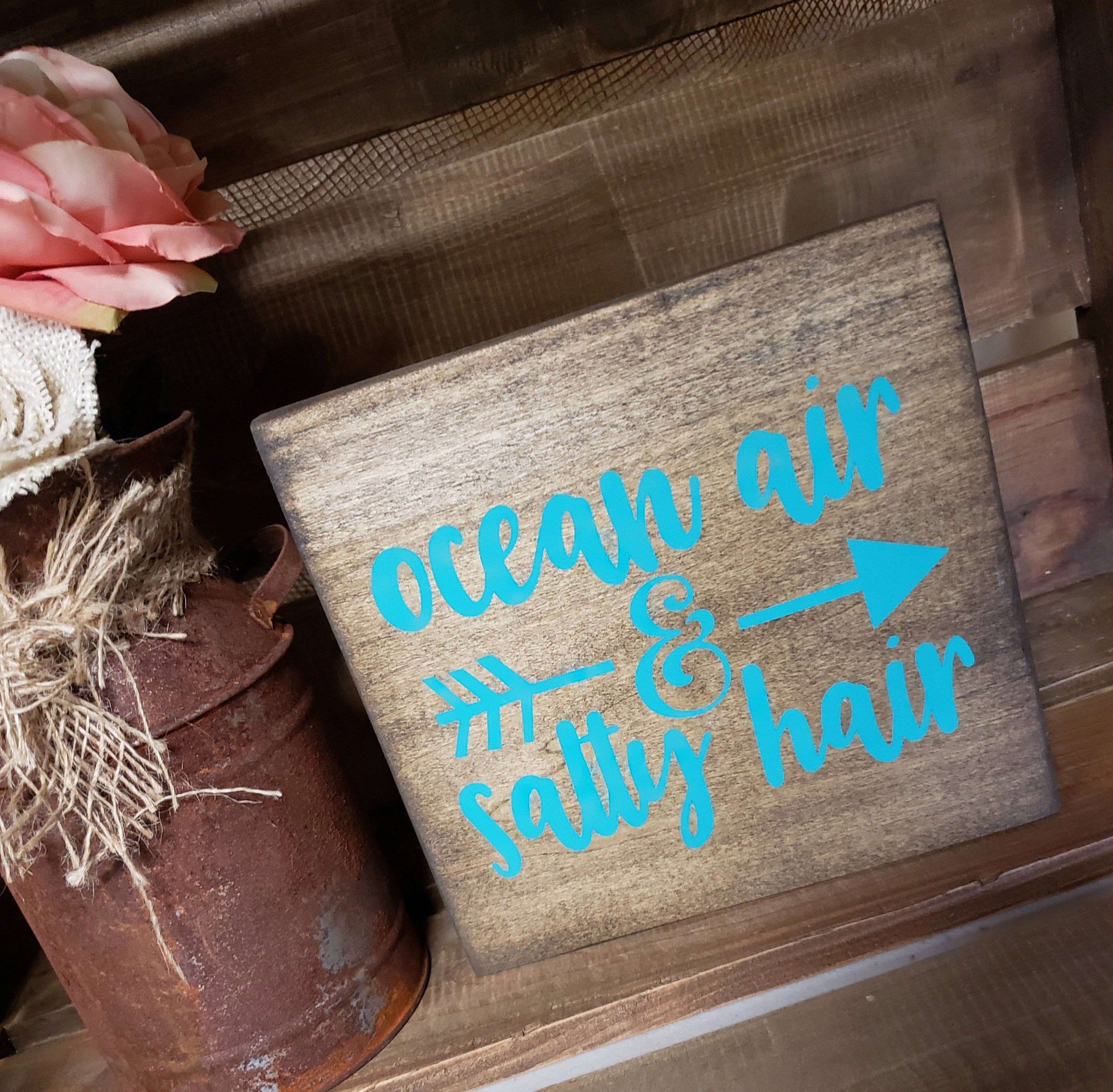 Ocean Air Salty Hair Beach Beachy Summer Sun Distressed Sign Shelf Sitter Summertime Fun Shabby Chic Brown Turquoise Caribbean Blue Distressed Signs Wood Signs Summertime