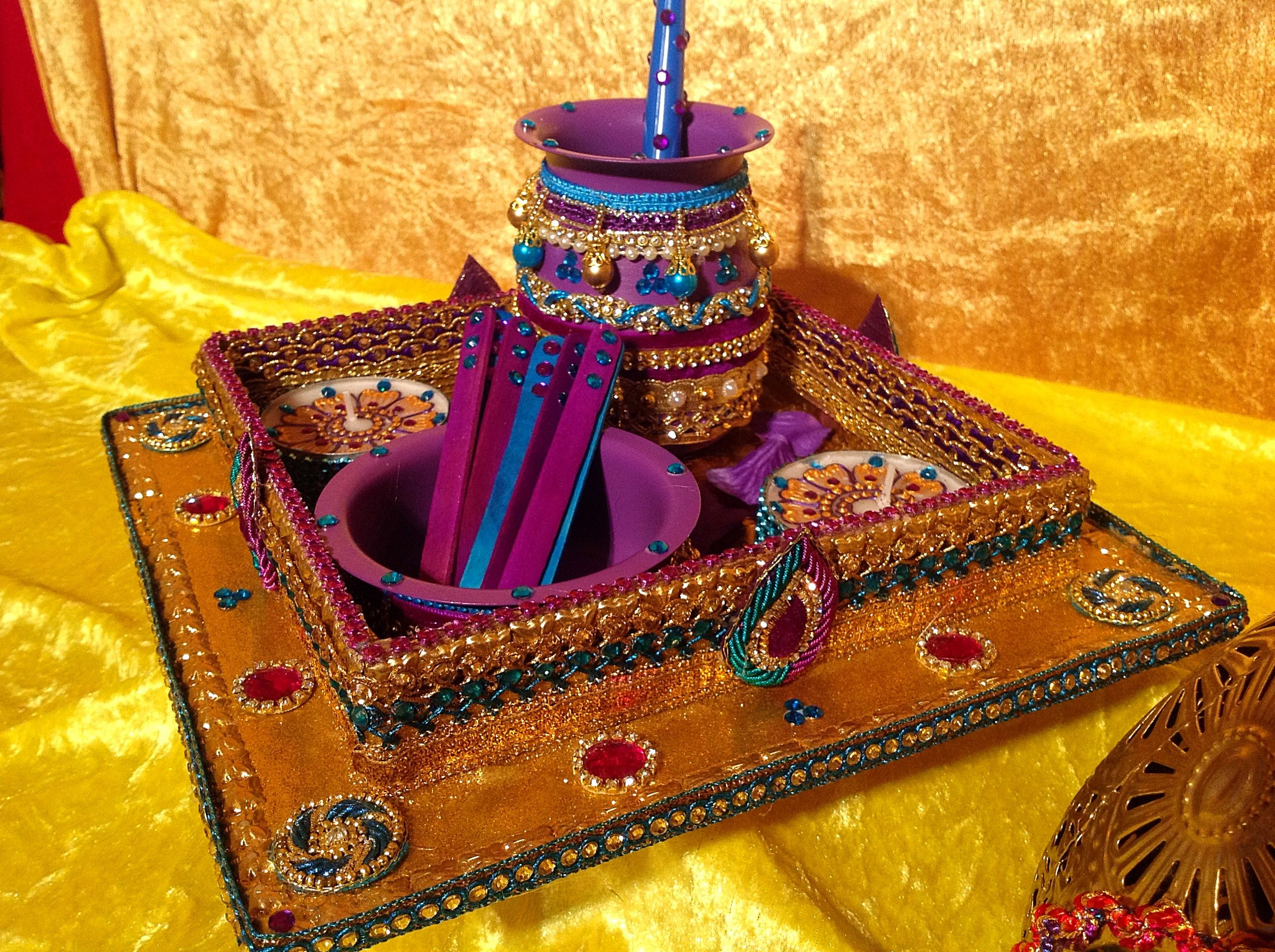 Mehndi Plates Images : A beautiful oil and mehndi tray. see my facebook page www.facebook