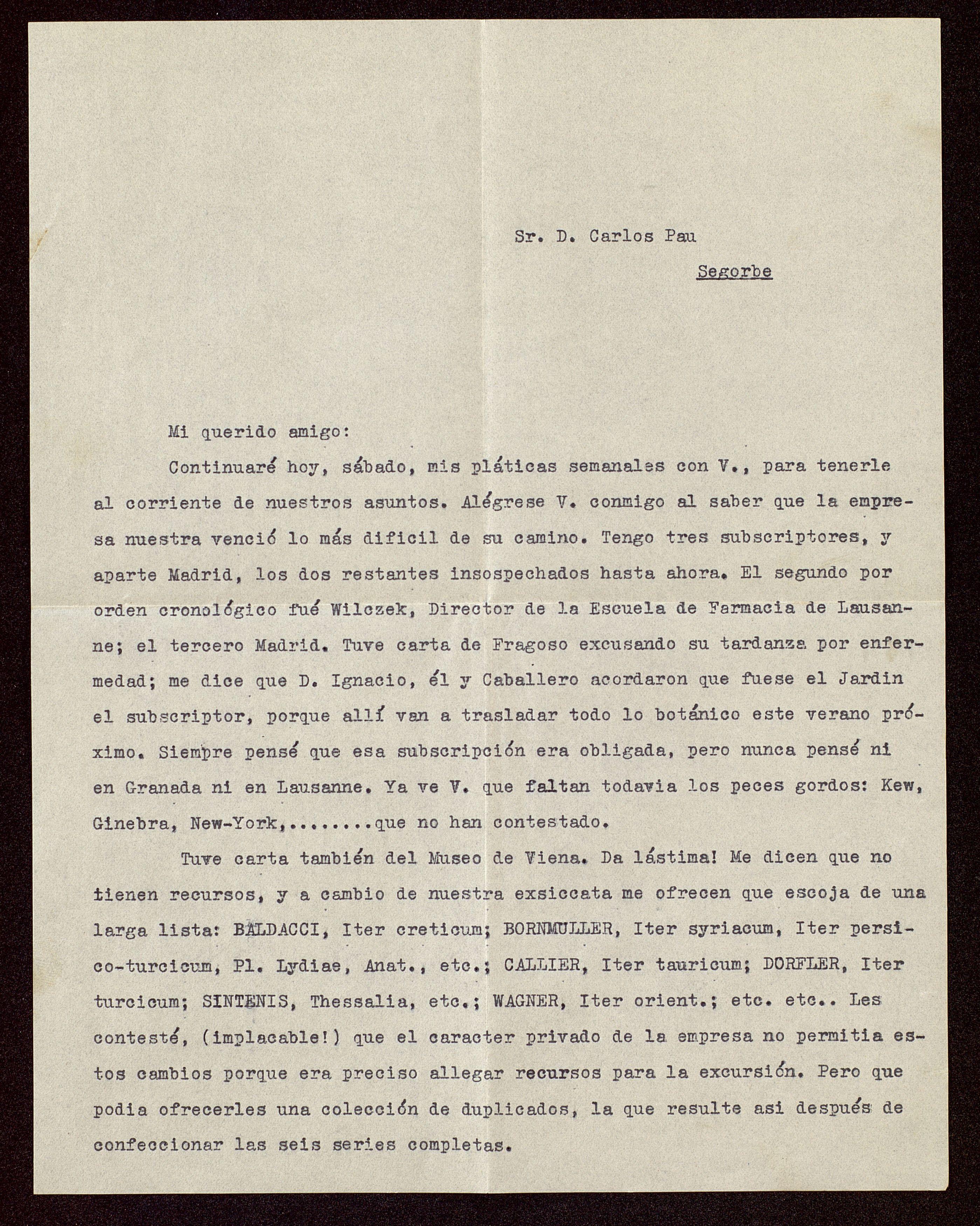 "Instituciones científicas que se suscribieron a la exiccata ""Iter Maroccanum"", Barcelona  19/02/1927. http://aleph.csic.es/F?func=find-c&ccl_term=SYS%3D000032841&local_base=ARCHIVOS (AIBB)"