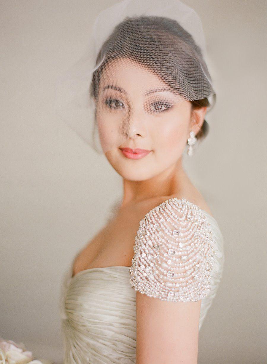 A real bride in a beaded pearl grey silk Reem Acra wedding dress ...