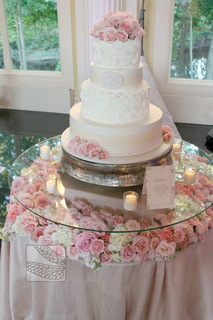 Wedding cake table decoration ideas  cake table  Cake table flowers would be gorgeous with other colors