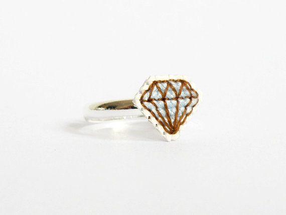 Diamond cross stitch ring light blue gifts by hersweetembrace