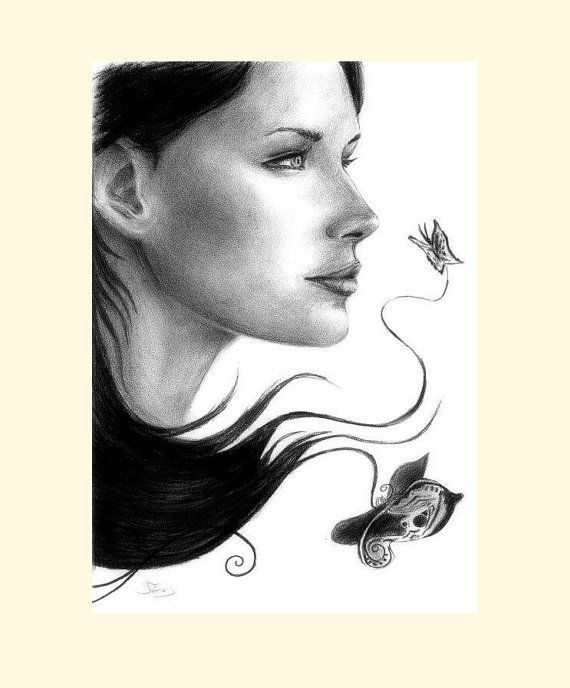 Pencil drawing woman drawing woman portrait gift by gkartstudio