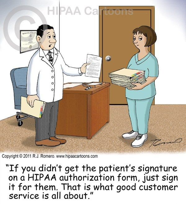 Cartoon-doctor-tells-nurse-to-sign-patient-name-on - hipaa authorization form