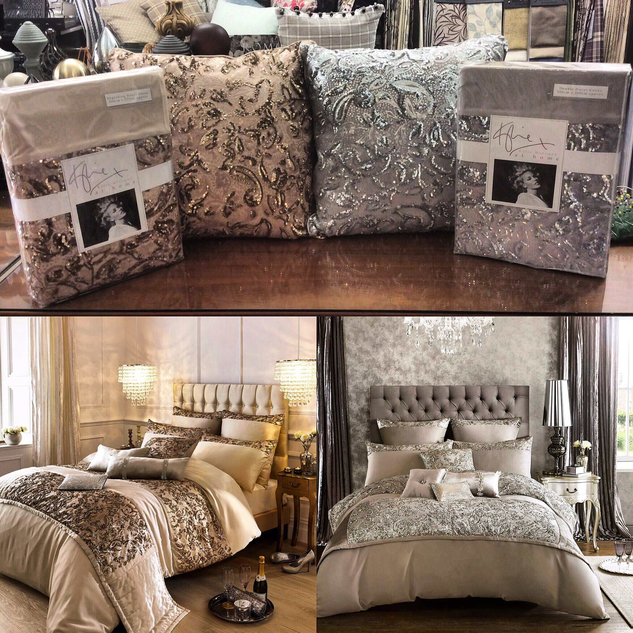 Kylie Minogue Alexa Sequin Bedding in gold or silver. Gold bedroom ...