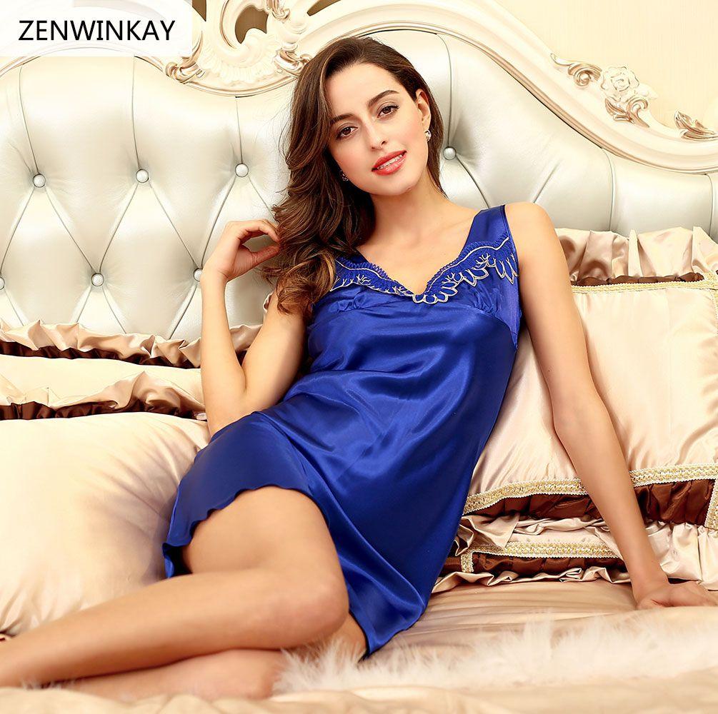 f25daf4bf7cf Hot Women Silk Satin Nightgown Lace Nightdress Sexy Nighty Dress Sleeveless  Sleepdress V-neck Sleepwear Nightwear For Summer.#sexy nighty dress#Women's  ...