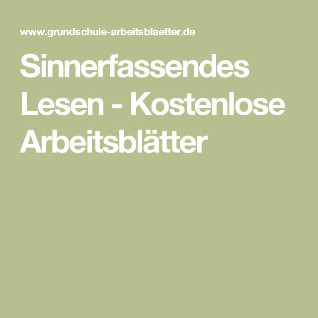 Sinnerfassendes Lesen - Kostenlose Arbeitsblätter | Deutsch GS ...