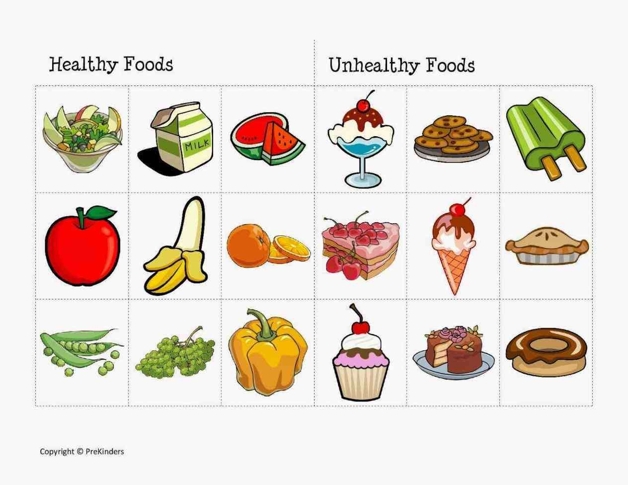 S Unhealthy Food Vs Healthy Food Clipart Worksheet