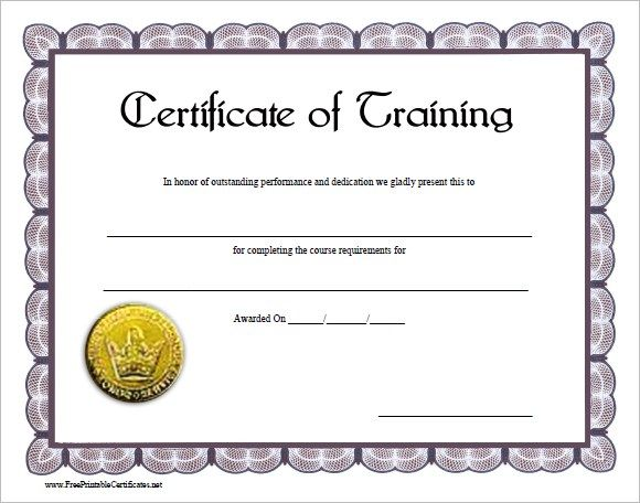 Training Certificate Template Sample  Free Training Certificate