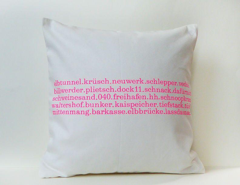 Typo Creme Neonpink Hamburg Kissen 40x40 Herr Fuchs Pink Und Neon