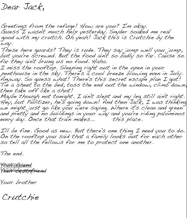 Crutchie's letter to Jack from the refuge. These are actually the