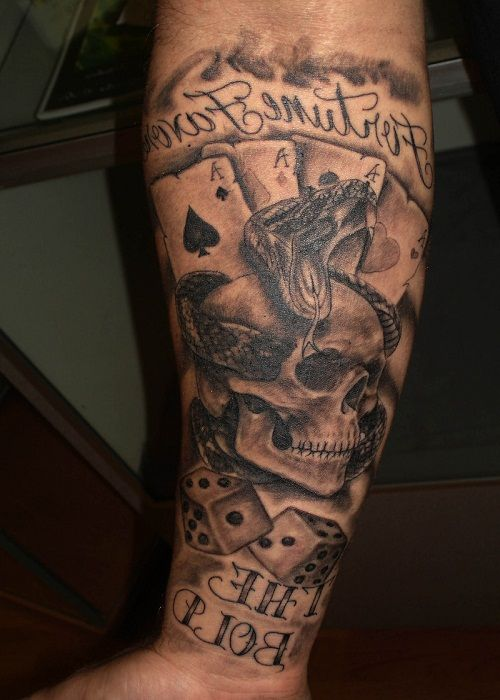 Skull With A Snake And Cards Gambling Tattoo Dice Tattoo Card Tattoo