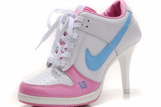 Womens Nike Blue White Pink Dunks Heels