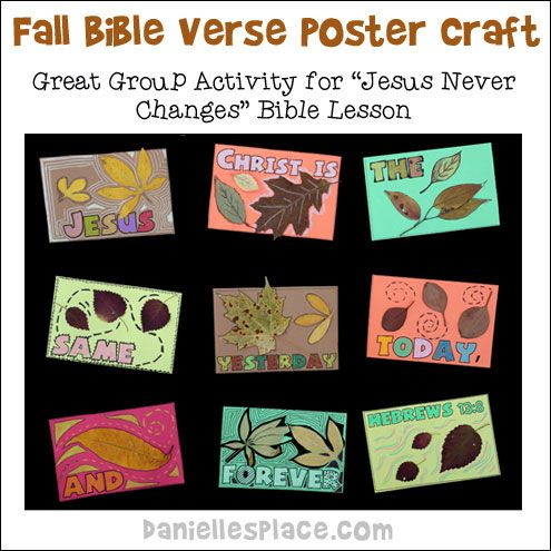 Jesus christ never changes bible verse poster craft for for Children s christian crafts