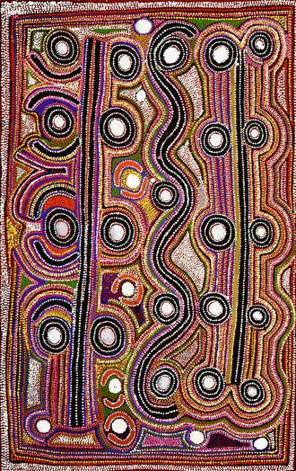"""Milky Way Dreaming Paddy Japaljarri Sims, 1999 Acrylic on Canvas, 48"""" x 36"""" An Australian Aboriginal Painting from Next Picasso Affordable Art Online http://www.next-picasso.com/paintings/aboriginal/paddy-japaljarri-sims-australian-aboriginal-painting-aboriginal-art-c16149d158211.html #AboriginalArt #PaddyJapaljarriSims"""