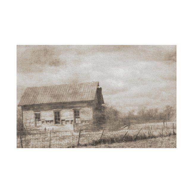 Old Farm in Sepia Canvas Print #sepia #abandoned #farm #house #building #CanvasPrint