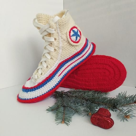 32681c01fd1279 Knitted converse slippers 39 Knitted present for girlfriend Crochet converse  boots Women s house sli