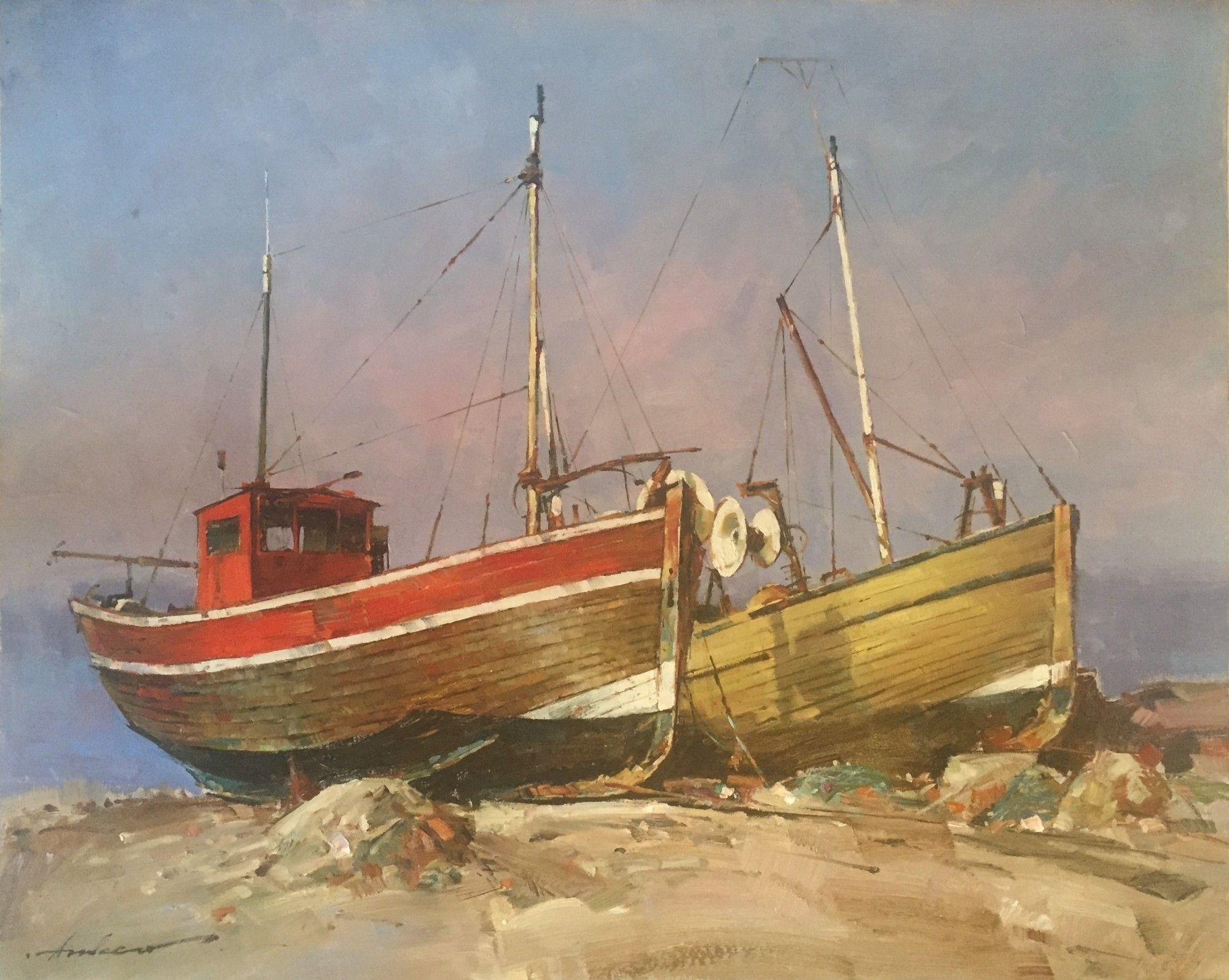 Old Fishing Boats By Andrei Atroshenko Copyright Remains With The Artist Andreiatroshenko Edinburghartfair Boat Art Marine Painting Boat Painting