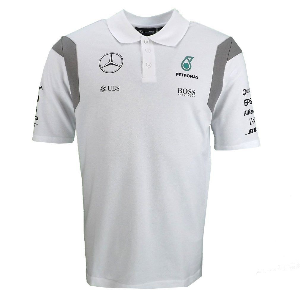 mercedes amg f1 replica team polo shirt white official part of this seasons official. Black Bedroom Furniture Sets. Home Design Ideas