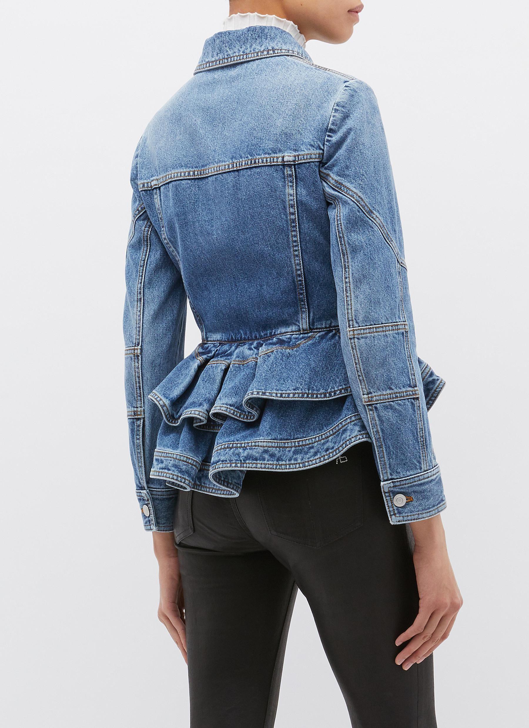 Back View Click To Enlarge Alexander Mcqueen Denim Peplum Jacket Denim Fashion Peplum Jacket Fashion [ 2475 x 1800 Pixel ]