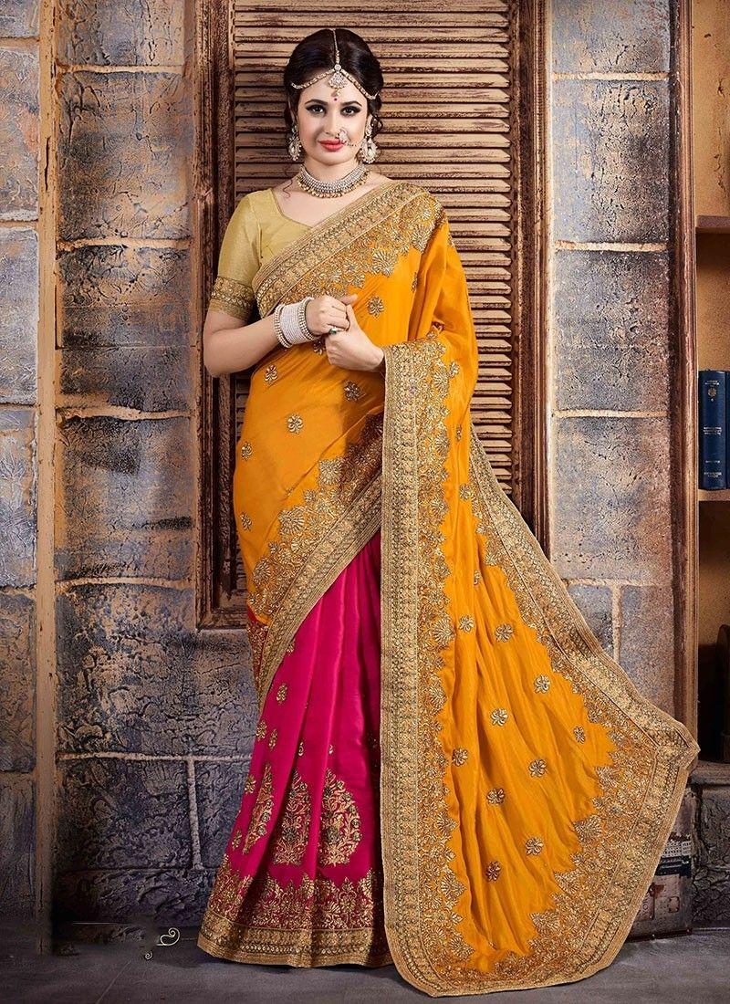 Yellow Pink Art Silk Half And Half Saree