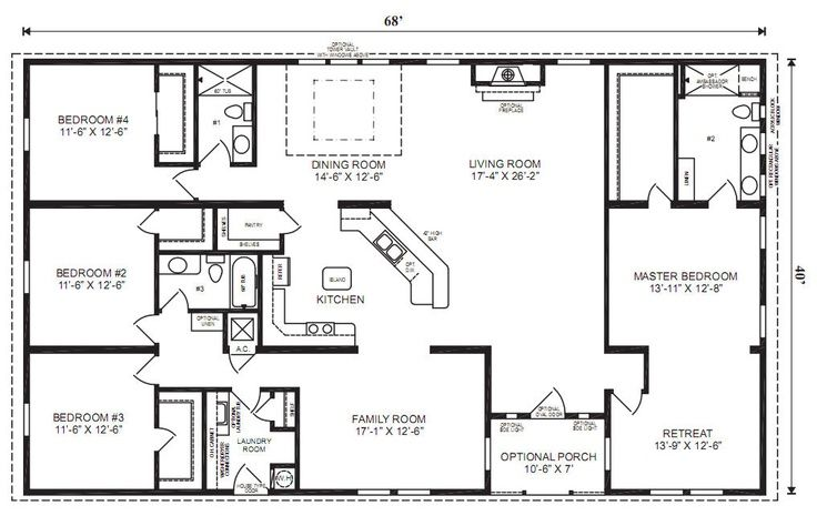 ranch house floor plans 4 bedroom Love this simple, no watered space ...