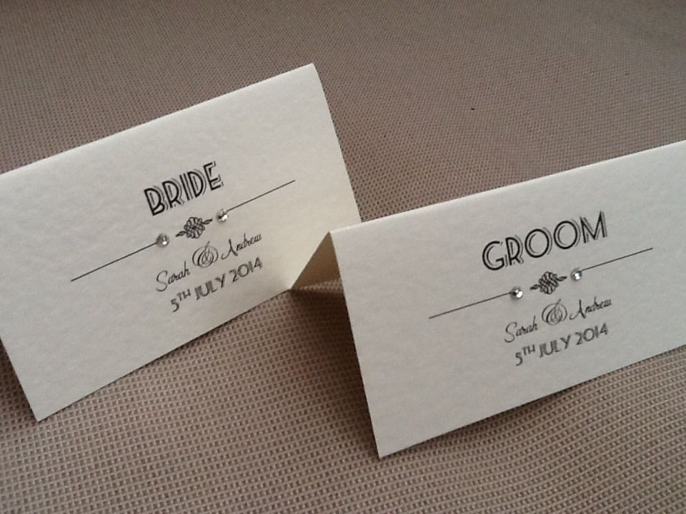 10 x handmade personalised vintage art deco style name for Place card for wedding