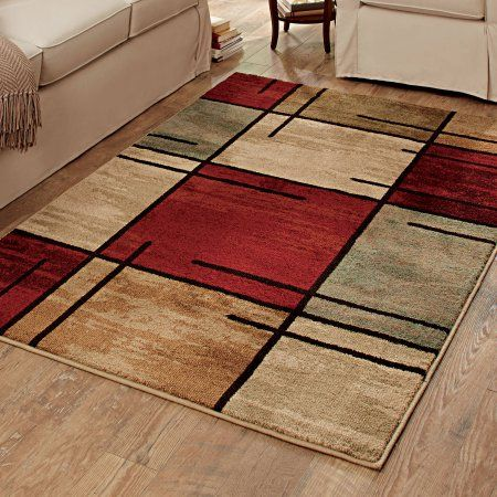 Better Homes And Gardens Spice Grid Rouge Olefin Area Rug