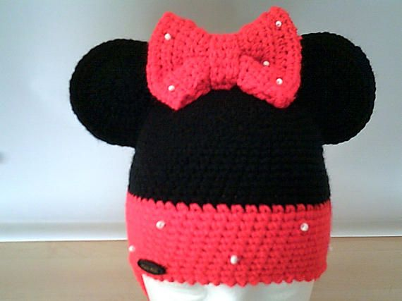 Crochet hat minnie mouse for girls,crochet hats,handmade hats,baby ...