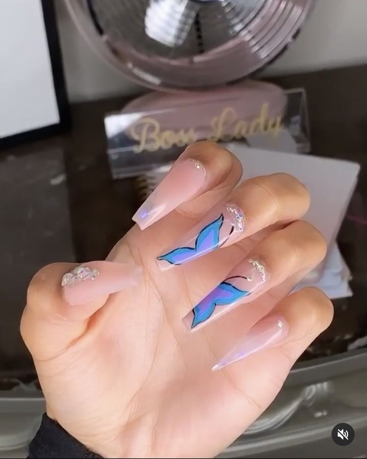 Crownme Bitxch Long Acrylic Nails Cute Acrylic Nails Fire Nails