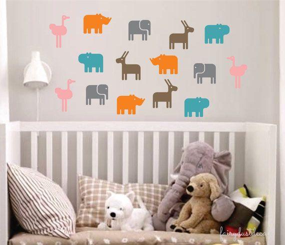 Animal Wall Decals Nursery Wall Decor Elephant Hippo Ostrich ...