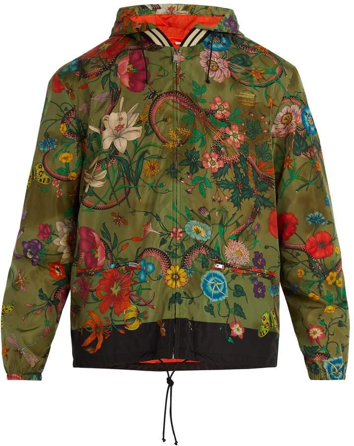 355182b46 Gucci Floral-print windbreaker | Products | Gucci floral, Gucci ...