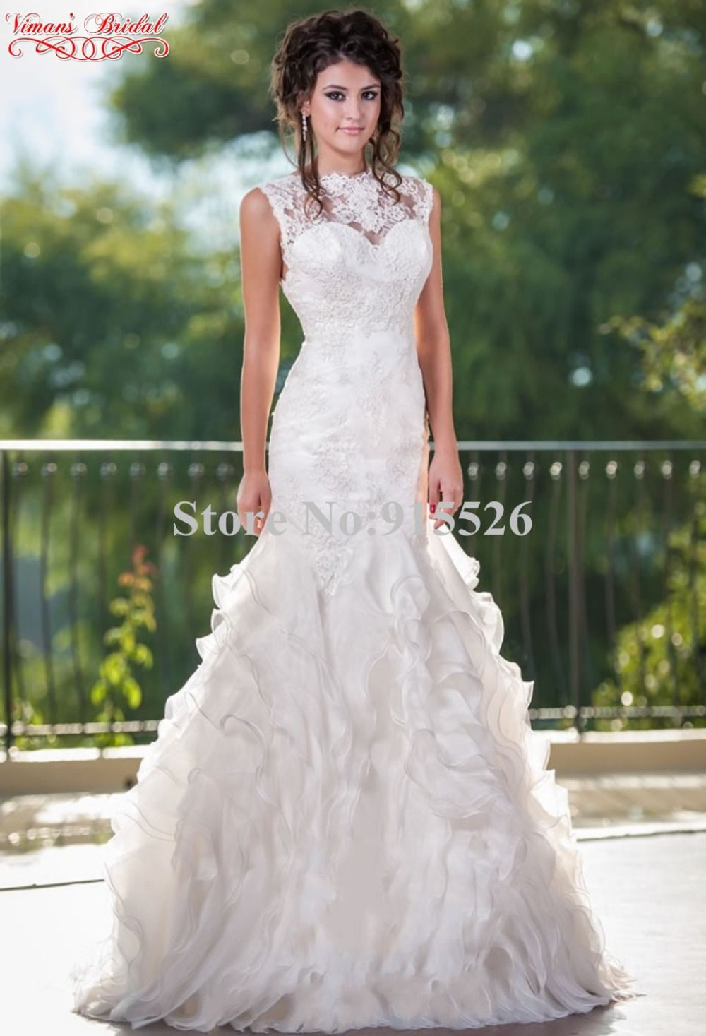 Mermaid ruffle wedding dress  Click to Buy ucuc  Vimanus Bridal Mermaid Wedding Dress Appliques