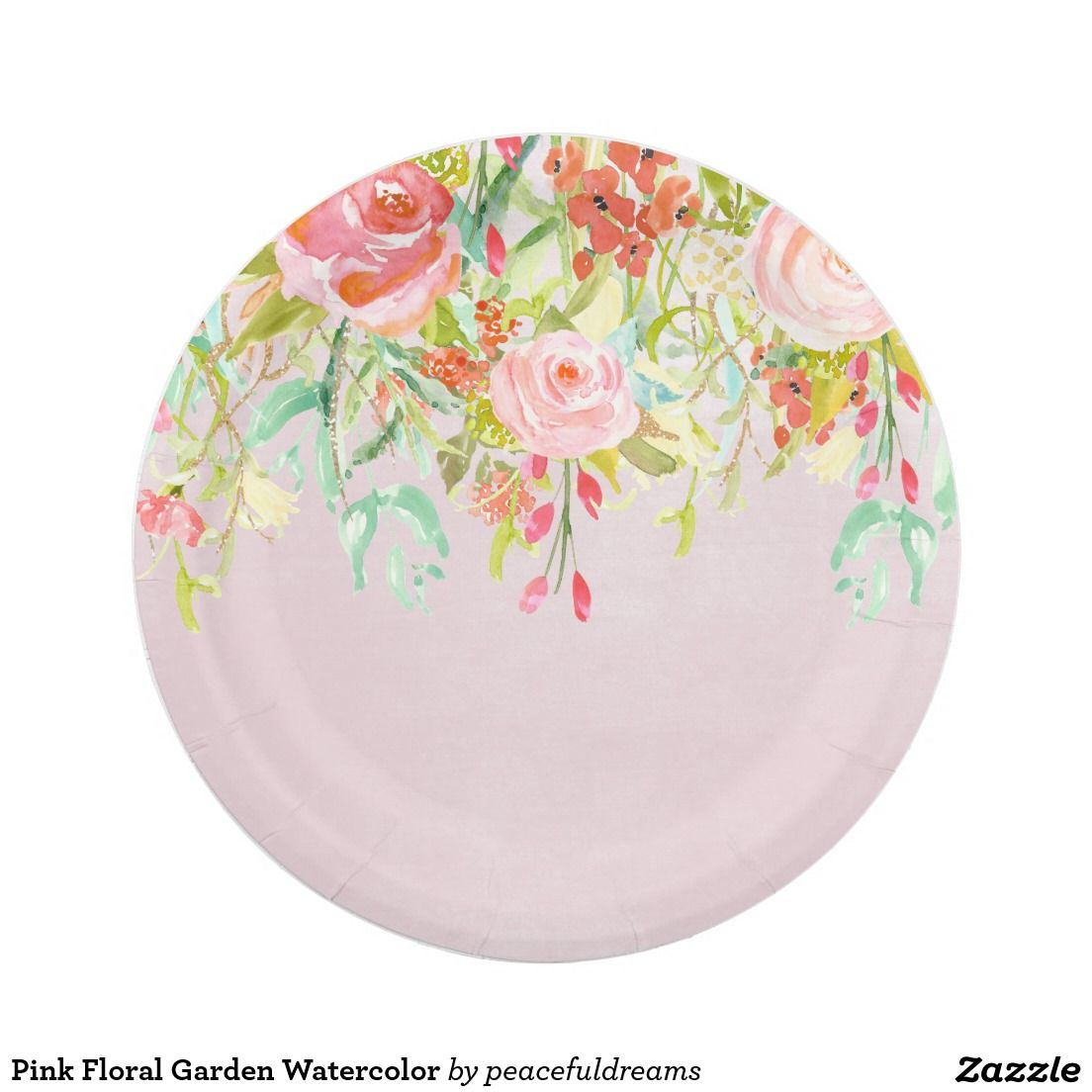 Pink Floral Garden Watercolor Paper Plate Bridal Shower