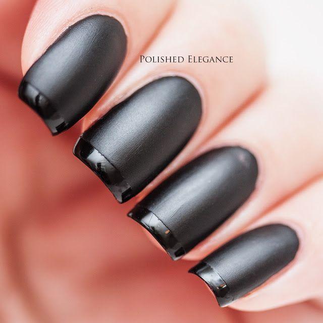 Black Matte Nails Glossy Tips - ARCHIDEV